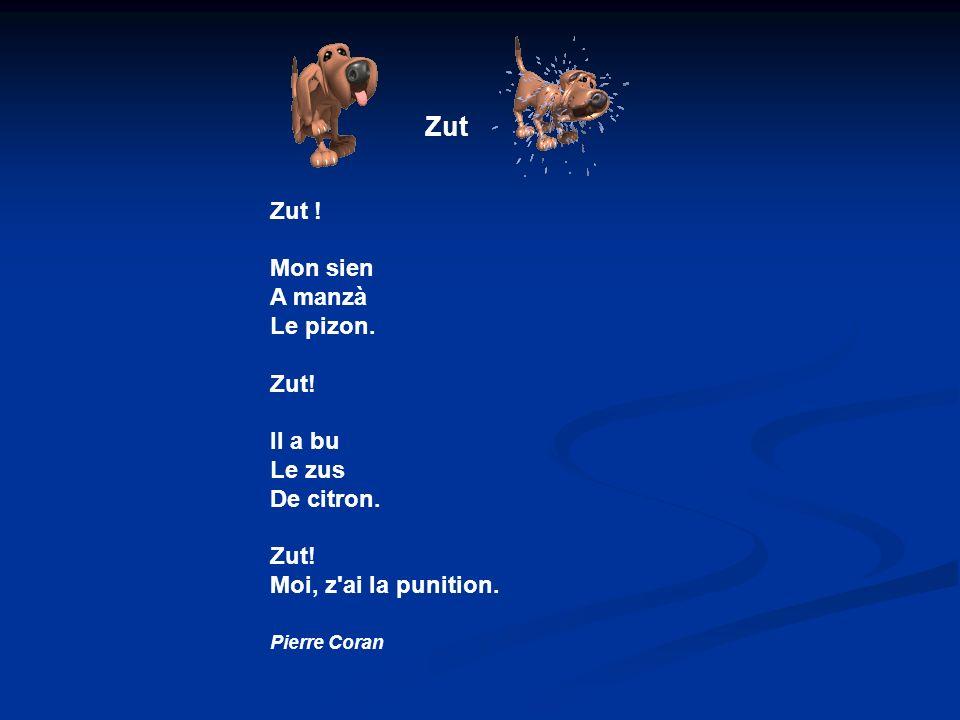 Zut Zut .Mon sien A manzà Le pizon. Zut. Il a bu Le zus De citron.