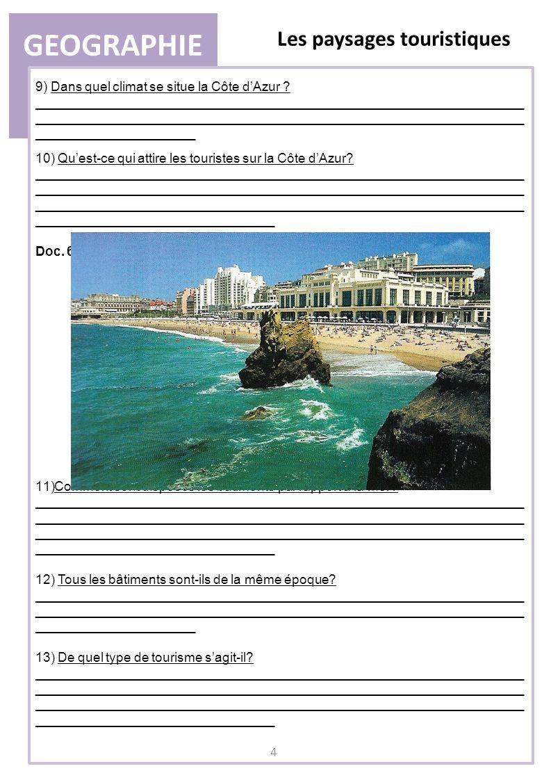 GEOGRAPHIE Les paysages touristiques 11)Comment sont disposés les bâtiments par rapport à la mer? ____________________________________________________