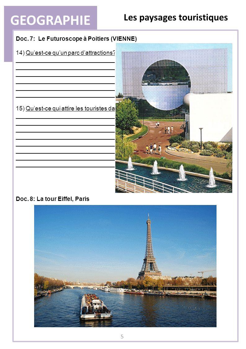 GEOGRAPHIE Les paysages touristiques Doc. 7: Le Futuroscope à Poitiers (VIENNE) 14) Quest-ce quun parc dattractions? _________________________________