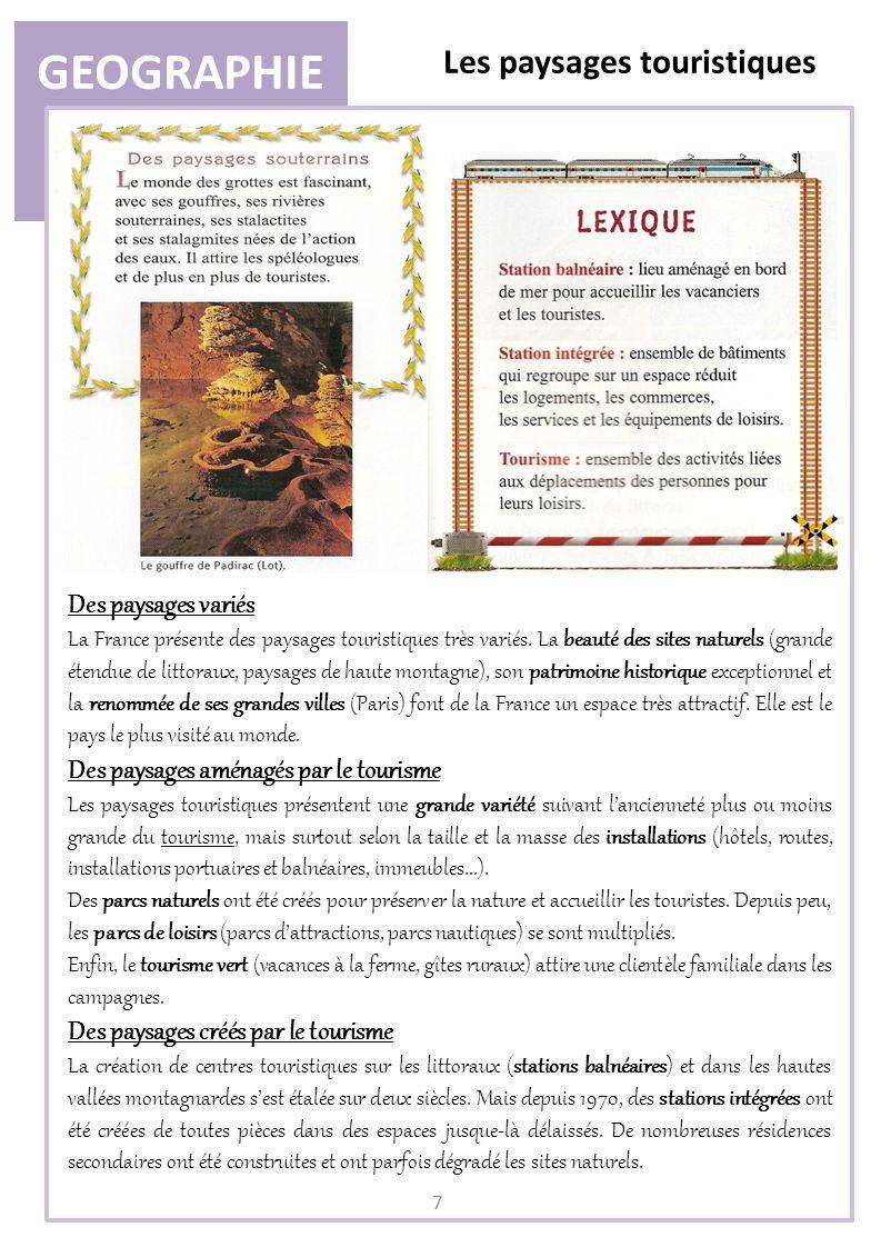 GEOGRAPHIE Les paysages touristiques 7 Des paysages variés La France présente des paysages touristiques très variés. La beauté des sites naturels (gra