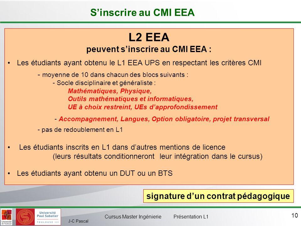 J-C Pascal Cursus Master Ingénierie Présentation L1 10 L2 EEA peuvent sinscrire au CMI EEA : Les étudiants ayant obtenu le L1 EEA UPS en respectant le