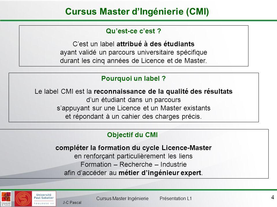 J-C Pascal Cursus Master Ingénierie Présentation L1 4 Cursus Master dIngénierie (CMI) Quest-ce cest ? Cest un label attribué à des étudiants ayant val