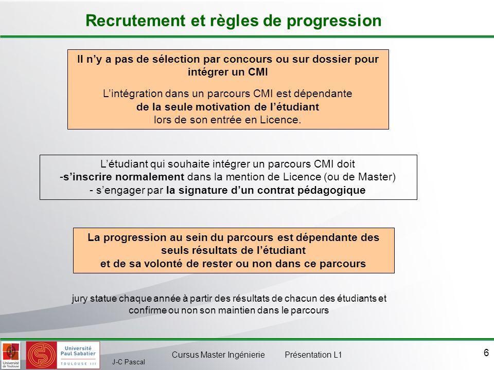 J-C Pascal Cursus Master Ingénierie Présentation L1 7 Obtention du label CMI Résultats attendus pour obtenir le label Obtenir la moyenne chaque année, dans chacun des trois blocs suivants : - Les UE du socle disciplinaire, connexe et généraliste - Les UE de SHS, projets, stages et langue vivante - Les UE spécifiques au CMI Réaliser le parcours CMI sans redoublement, sauf problèmes particuliers avérés Obtenir le CLES danglais niveau B2+ en fin de cursus.