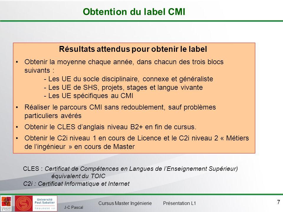 J-C Pascal Cursus Master Ingénierie Présentation L1 7 Obtention du label CMI Résultats attendus pour obtenir le label Obtenir la moyenne chaque année,