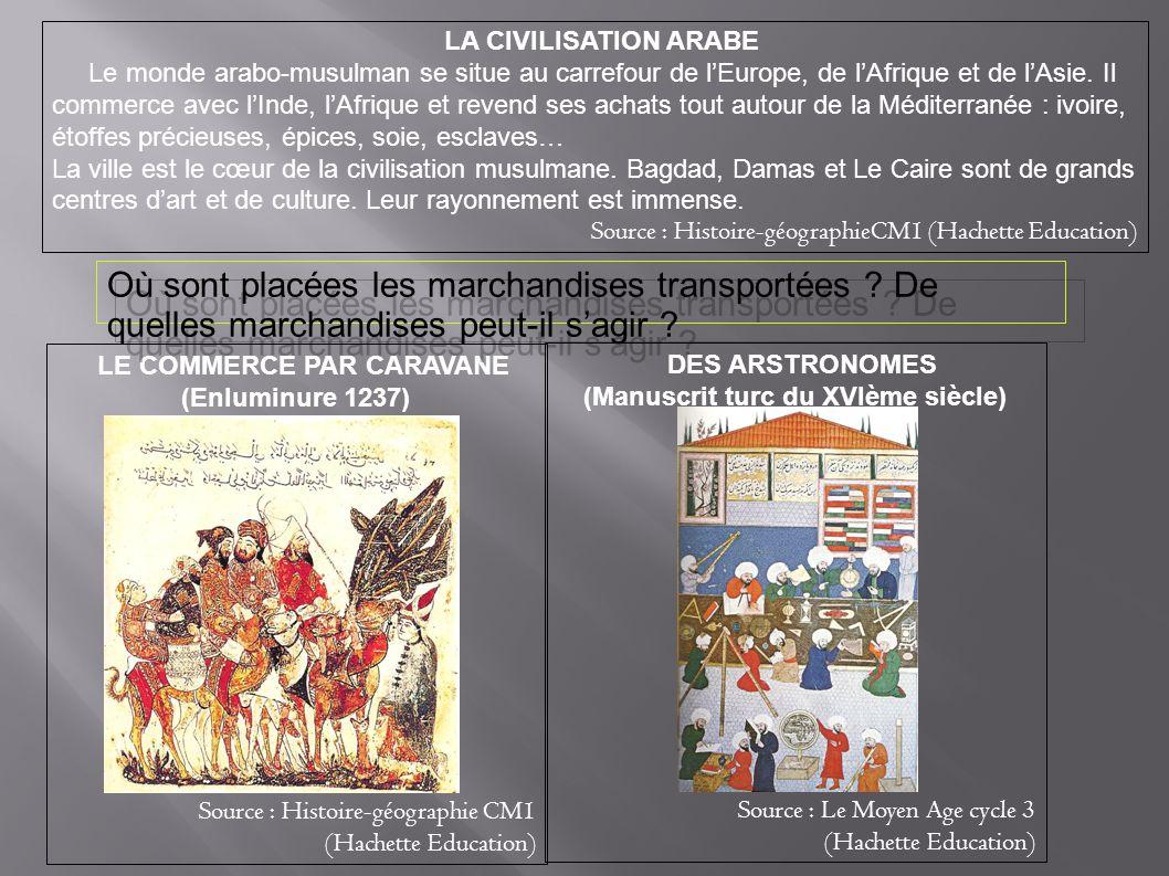 LA CIVILISATION ARABE Le monde arabo-musulman se situe au carrefour de lEurope, de lAfrique et de lAsie. Il commerce avec lInde, lAfrique et revend se