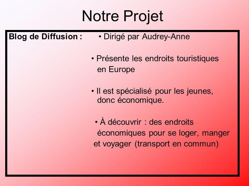 Notre Projet Blog de Diffusion : Dirigé par Audrey-Anne Présente les endroits touristiques en Europe Il est spécialisé pour les jeunes, donc économique.