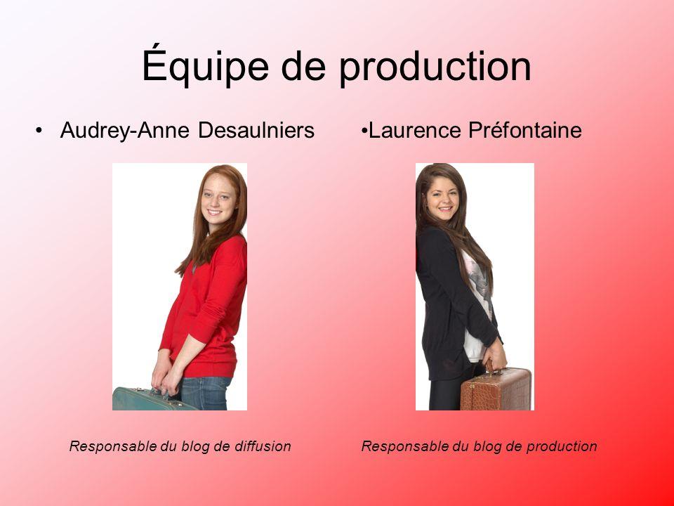 Laurence Préfontaine Équipe de production Audrey-Anne Desaulniers Responsable du blog de diffusionResponsable du blog de production