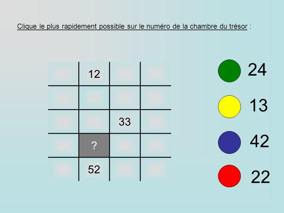 12 33 ? 52 24 13 42 22 Clique le plus rapidement possible sur le numéro de la chambre du trésor :