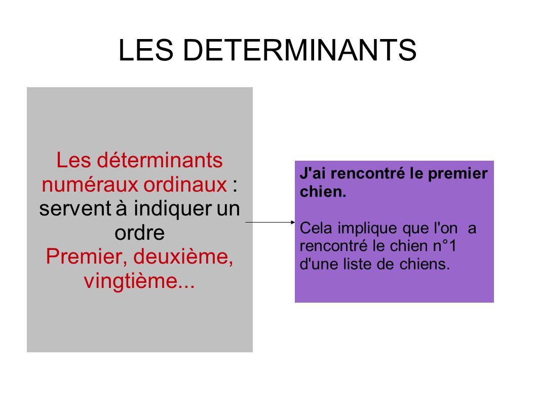 LES DETERMINANTS Les déterminants numéraux ordinaux : servent à indiquer un ordre Premier, deuxième, vingtième...