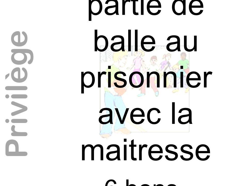 Jouer une partie de balle au prisonnier avec la maitresse 6 bons nécessaires Privilège