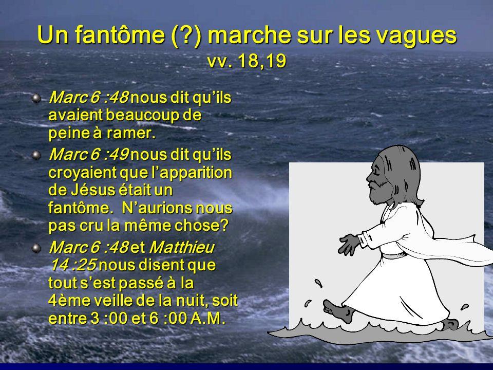 Un fantôme (?) marche sur les vagues vv. 18,19 Marc 6 :48 nous dit quils avaient beaucoup de peine à ramer. Marc 6 :49 nous dit quils croyaient que la