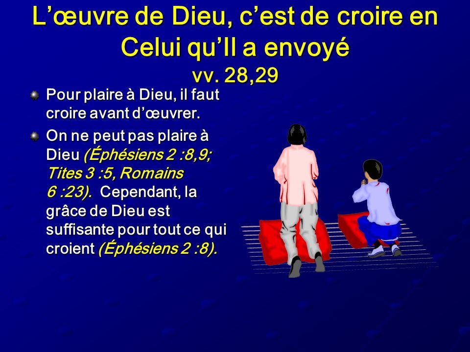 Lœuvre de Dieu, cest de croire en Celui quIl a envoyé vv. 28,29 Pour plaire à Dieu, il faut croire avant dœuvrer. On ne peut pas plaire à Dieu (Éphési