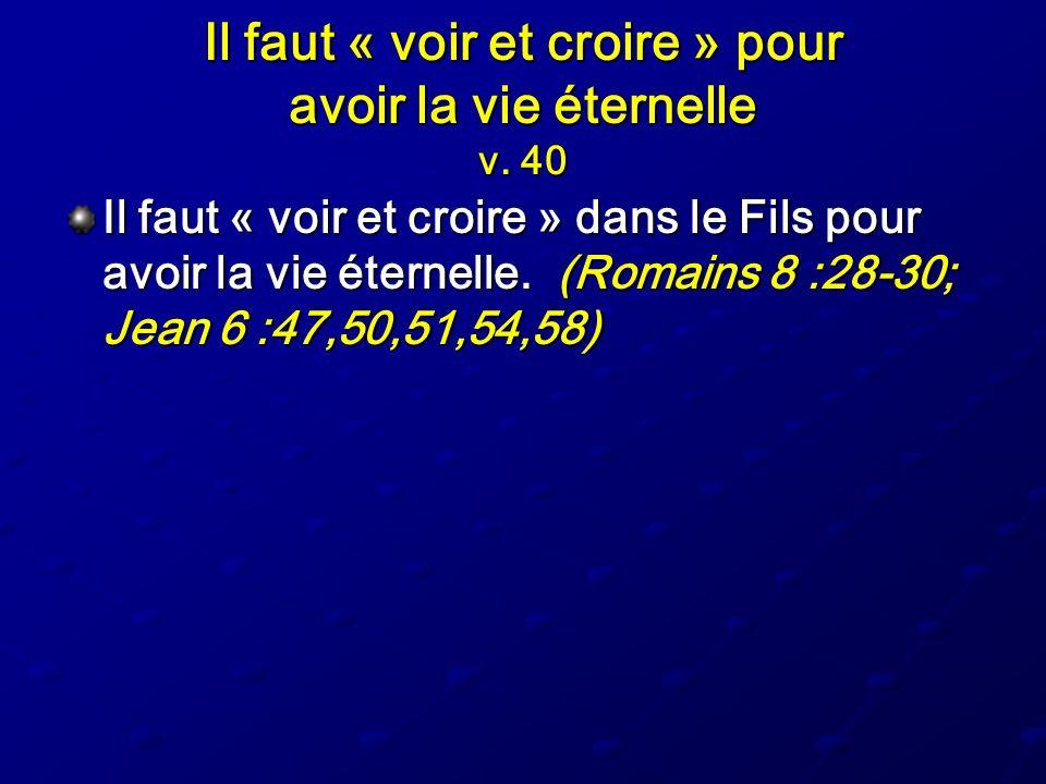 Il faut « voir et croire » pour avoir la vie éternelle v. 40 Il faut « voir et croire » dans le Fils pour avoir la vie éternelle. (Romains 8 :28-30; J