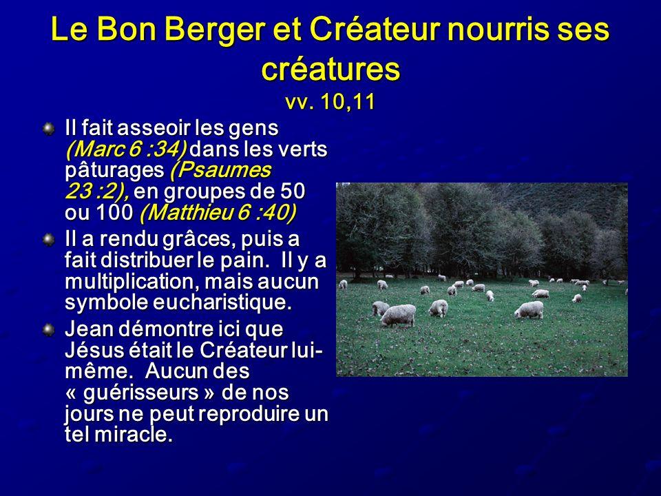 Le Bon Berger et Créateur nourris ses créatures vv. 10,11 Il fait asseoir les gens (Marc 6 :34) dans les verts pâturages (Psaumes 23 :2), en groupes d