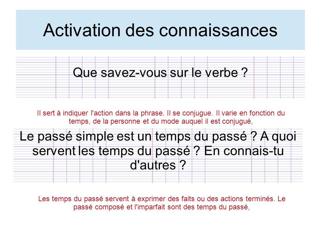 Activation des connaissances Que savez-vous sur le verbe ? Il sert à indiquer l'action dans la phrase. Il se conjugue. Il varie en fonction du temps,