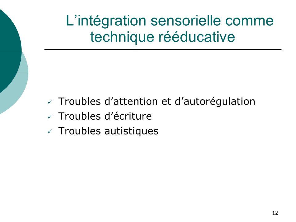 12 Lintégration sensorielle comme technique rééducative Troubles dattention et dautorégulation Troubles décriture Troubles autistiques