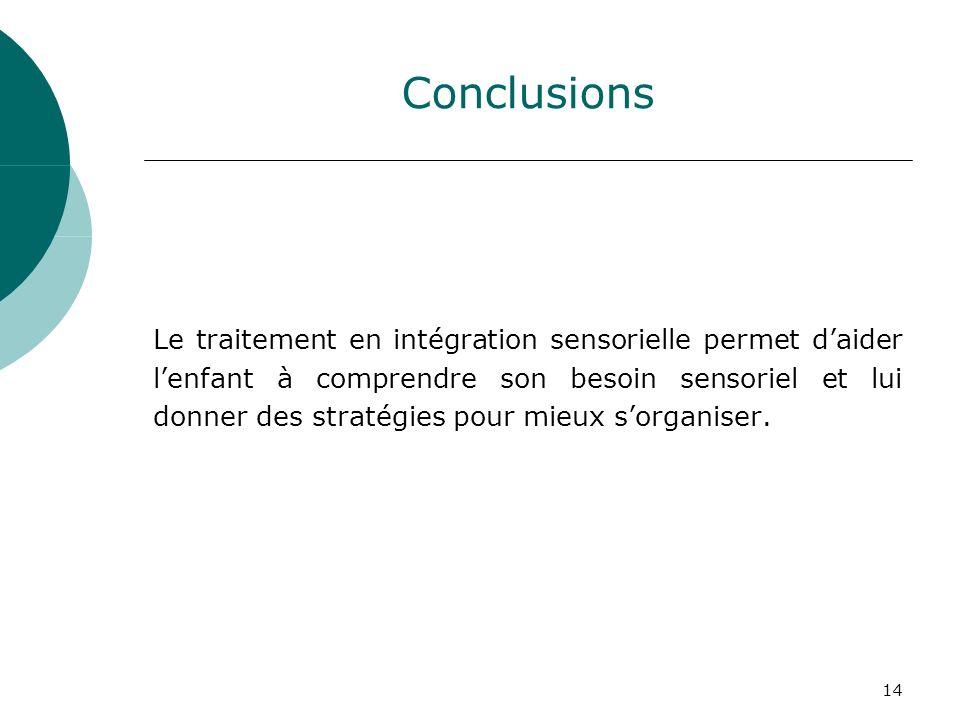 14 Conclusions Le traitement en intégration sensorielle permet daider lenfant à comprendre son besoin sensoriel et lui donner des stratégies pour mieu