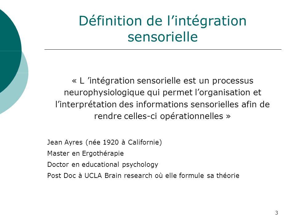 3 Définition de lintégration sensorielle « L intégration sensorielle est un processus neurophysiologique qui permet lorganisation et linterprétation d