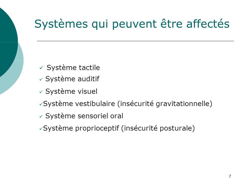 7 Systèmes qui peuvent être affectés Système tactile Système auditif Système visuel Système vestibulaire (insécurité gravitationnelle) Système sensori