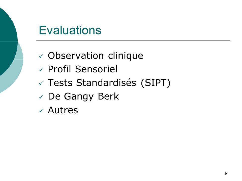8 Evaluations Observation clinique Profil Sensoriel Tests Standardisés (SIPT) De Gangy Berk Autres