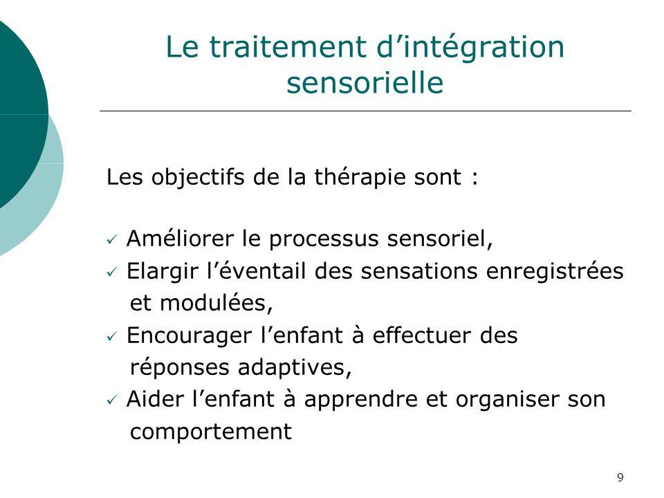 9 Le traitement dintégration sensorielle Les objectifs de la thérapie sont : Améliorer le processus sensoriel, Elargir léventail des sensations enregi