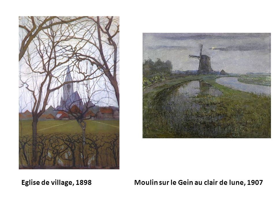 Eglise de village, 1898 Moulin sur le Gein au clair de lune, 1907