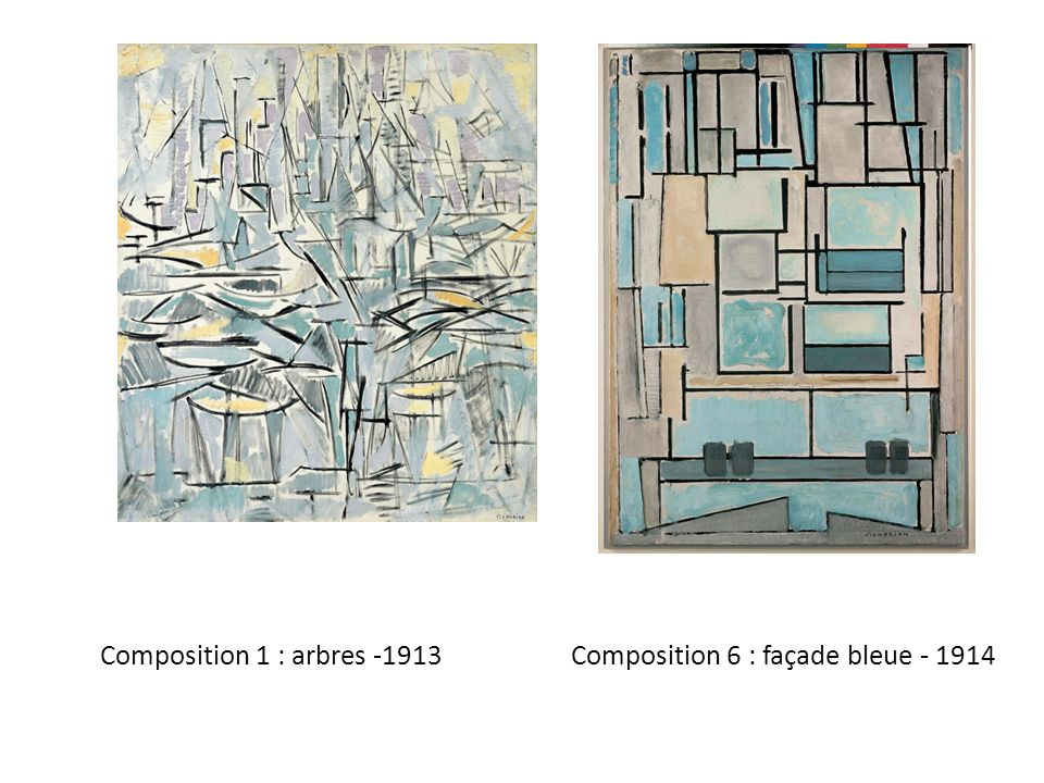 Composition 1 : arbres -1913 Composition 6 : façade bleue - 1914