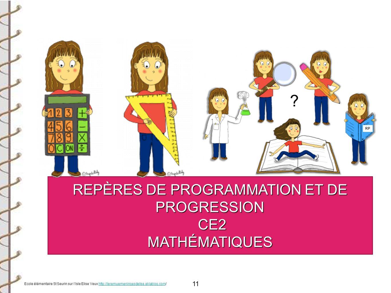 11 REPÈRES DE PROGRAMMATION ET DE PROGRESSION CE2 CE2MATHÉMATIQUES RP ? Ecole élémentaire St Seurin sur lIsle Elise Veux http://leremuemeningesdelise.