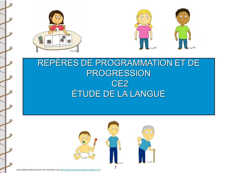 7 REPÈRES DE PROGRAMMATION ET DE PROGRESSION CE2 CE2 ÉTUDE DE LA LANGUE Ecole élémentaire St Seurin sur lIsle Elise Veux http://leremuemeningesdelise.