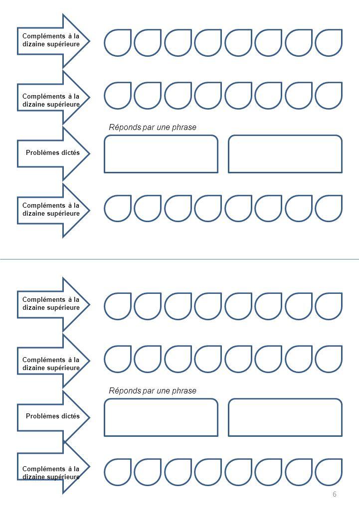 Compléments à la dizaine supérieure Problèmes dictés Compléments à la dizaine supérieure Réponds par une phrase Compléments à la dizaine supérieure Problèmes dictés Compléments à la dizaine supérieure Réponds par une phrase 6