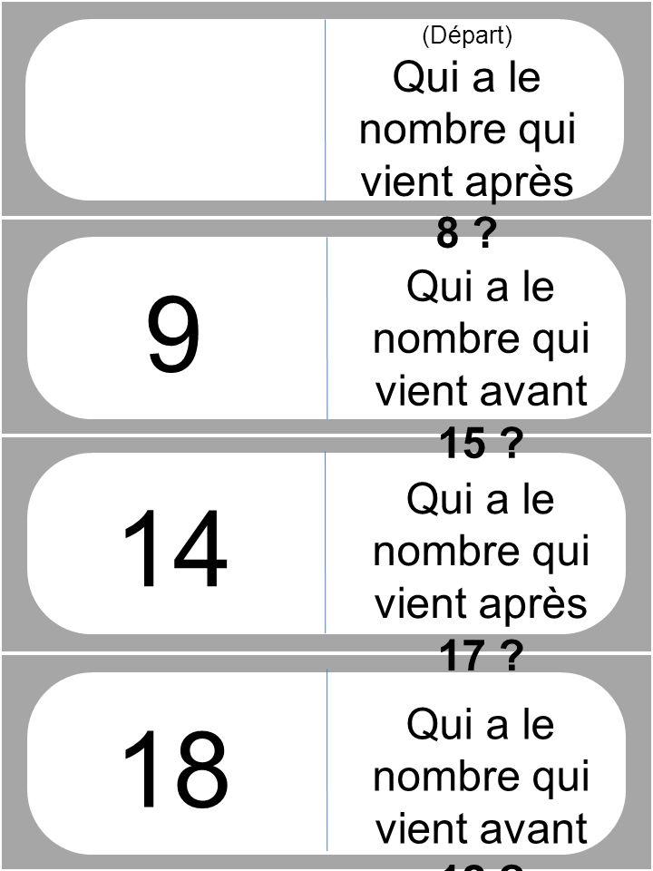 (Départ) Qui a le nombre qui vient après 8 ? 9 14 18 Qui a le nombre qui vient avant 15 ? Qui a le nombre qui vient après 17 ? Qui a le nombre qui vie