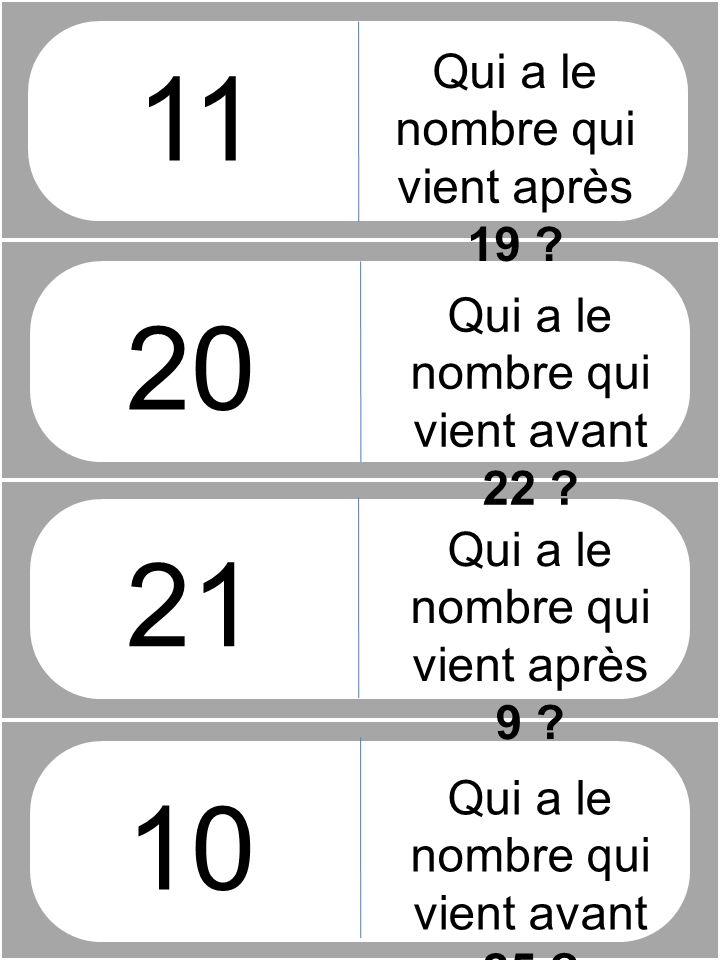 Qui a le nombre qui vient après 19 .21 10 Qui a le nombre qui vient avant 22 .