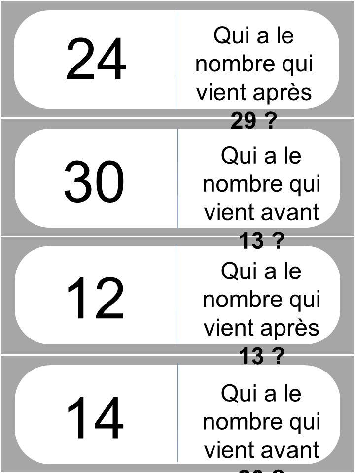Qui a le nombre qui vient après 29 .12 14 Qui a le nombre qui vient avant 13 .