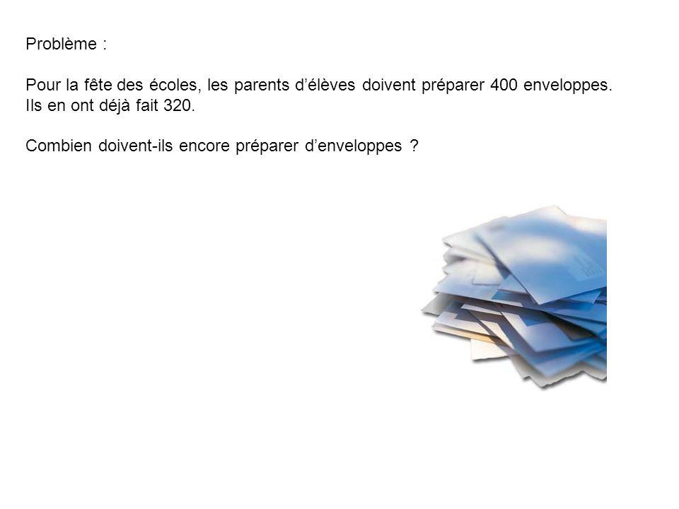 Problème : Pour la fête des écoles, les parents délèves doivent préparer 400 enveloppes. Ils en ont déjà fait 320. Combien doivent-ils encore préparer