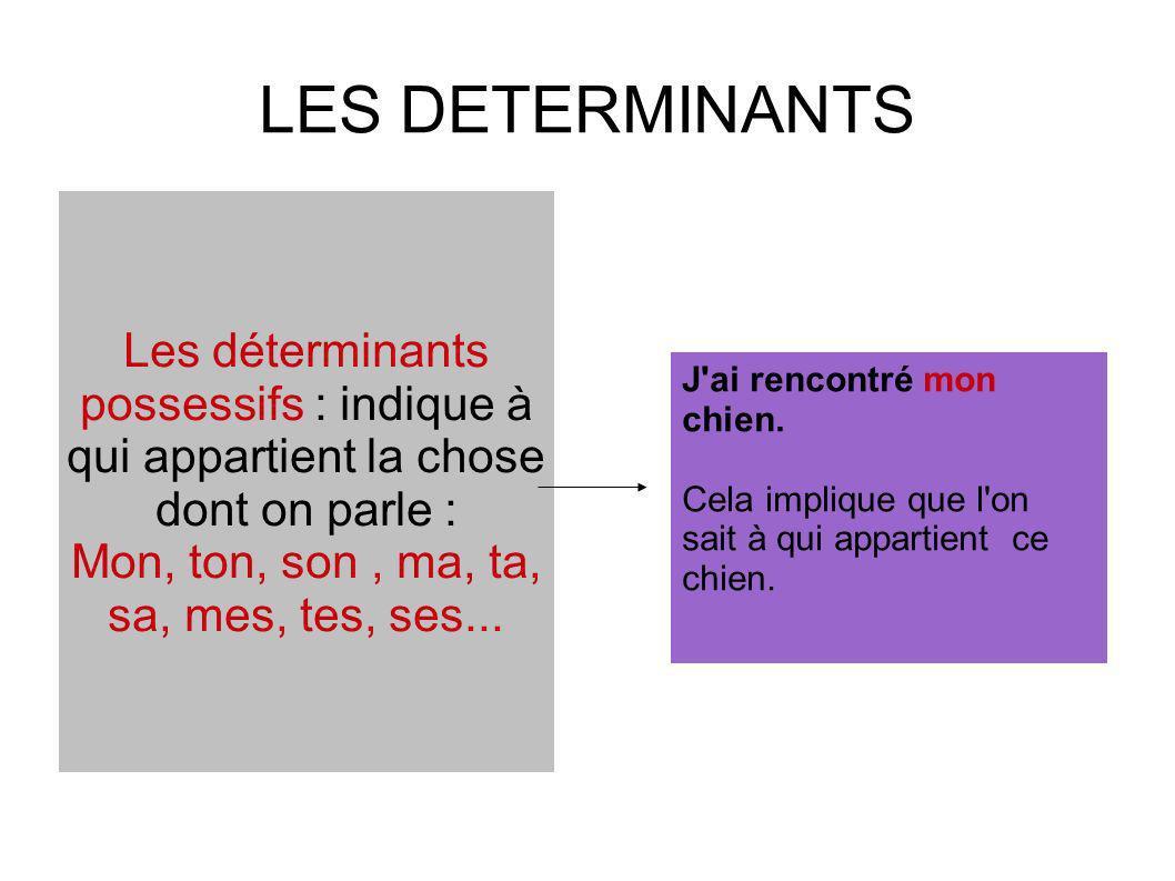 LES DETERMINANTS Les déterminants possessifs : indique à qui appartient la chose dont on parle : Mon, ton, son, ma, ta, sa, mes, tes, ses... J'ai renc