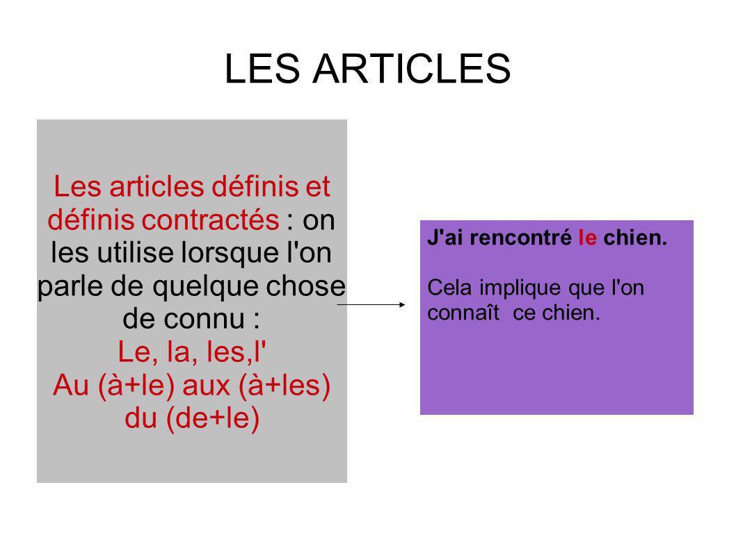 LES ARTICLES Les articles définis et définis contractés : on les utilise lorsque l'on parle de quelque chose de connu : Le, la, les,l' Au (à+le) aux (