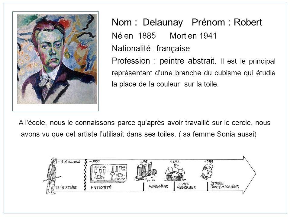 Nom : Delaunay Prénom : Robert Né en 1885Mort en 1941 Nationalité : française Profession : peintre abstrait. Il est le principal représentant dune bra