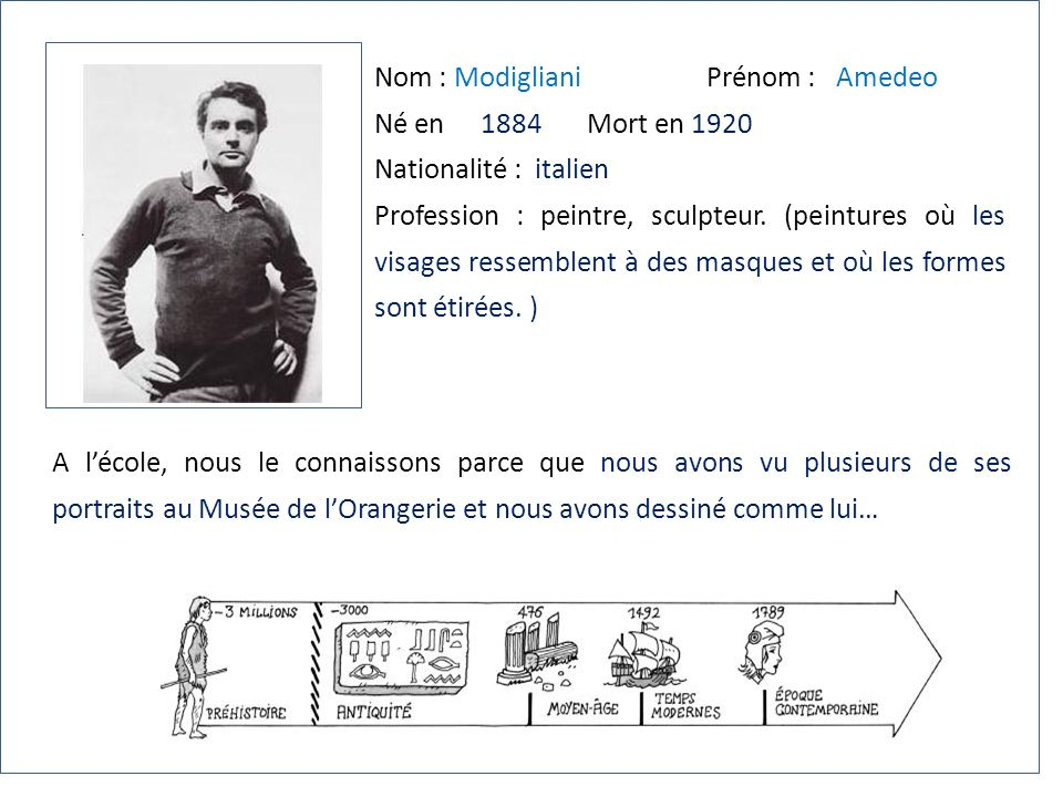 Nom : Modigliani Prénom : Amedeo Né en 1884Mort en 1920 Nationalité : italien Profession : peintre, sculpteur. (peintures où les visages ressemblent à