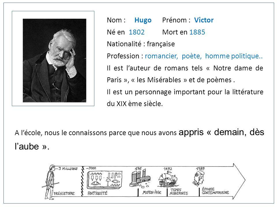 Nom : HugoPrénom : Victor Né en 1802Mort en 1885 Nationalité : française Profession : romancier, poète, homme politique.. Il est lauteur de romans tel