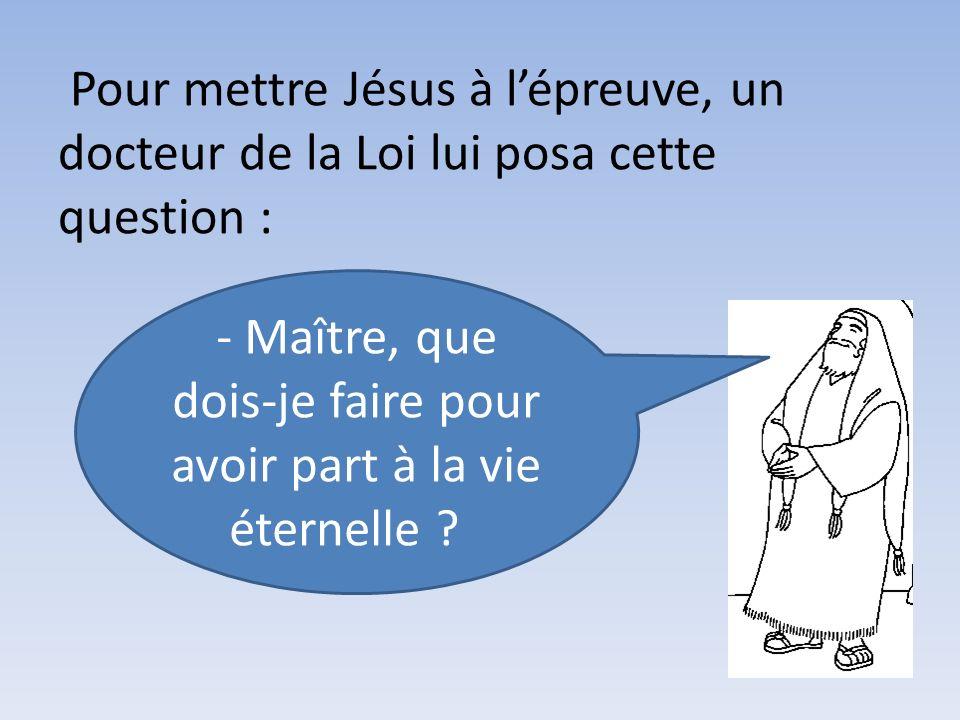 Pour mettre Jésus à lépreuve, un docteur de la Loi lui posa cette question : - Maître, que dois-je faire pour avoir part à la vie éternelle ?