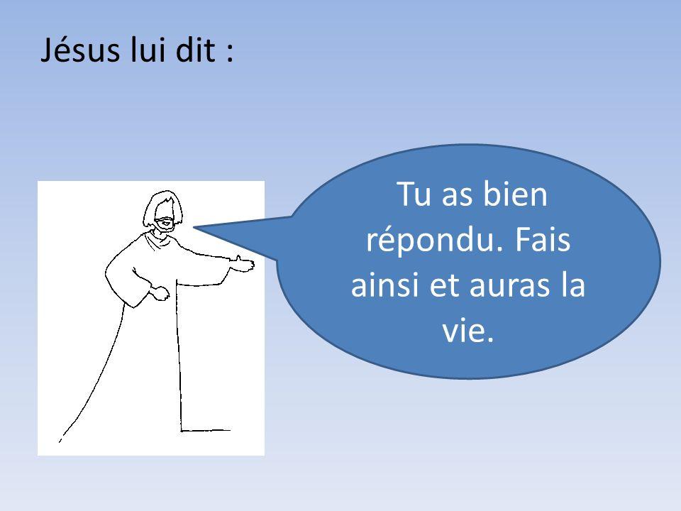 Jésus lui dit : Tu as bien répondu. Fais ainsi et auras la vie.