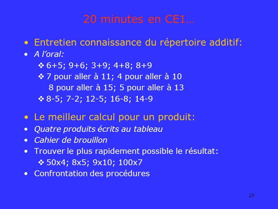 29 20 minutes en CE1… Entretien connaissance du répertoire additif: A loral: 6+5; 9+6; 3+9; 4+8; 8+9 7 pour aller à 11; 4 pour aller à 10 8 pour aller