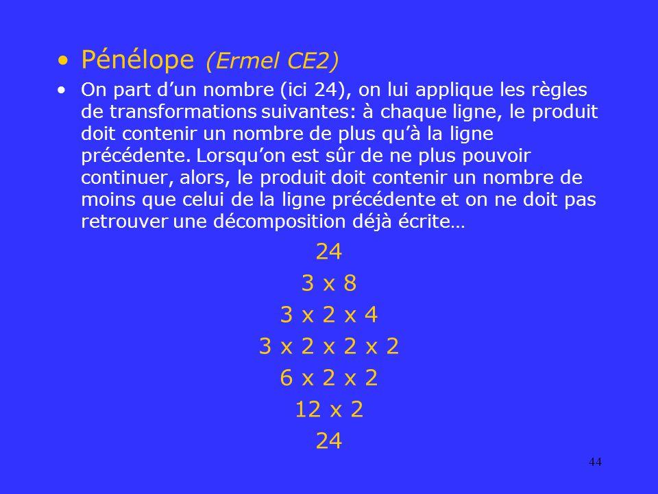 44 Pénélope (Ermel CE2) On part dun nombre (ici 24), on lui applique les règles de transformations suivantes: à chaque ligne, le produit doit contenir