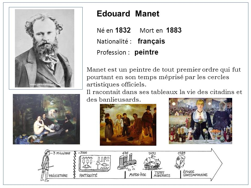 Edouard Manet Né en 1832 Mort en 1883 Nationalité : français Profession : peintre Manet est un peintre de tout premier ordre qui fut pourtant en son t