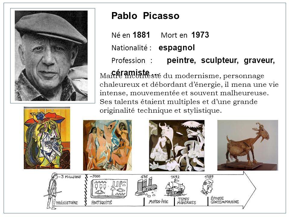 Pablo Picasso Né en 1881 Mort en 1973 Nationalité : espagnol Profession : peintre, sculpteur, graveur, céramiste … Maître incontesté du modernisme, pe
