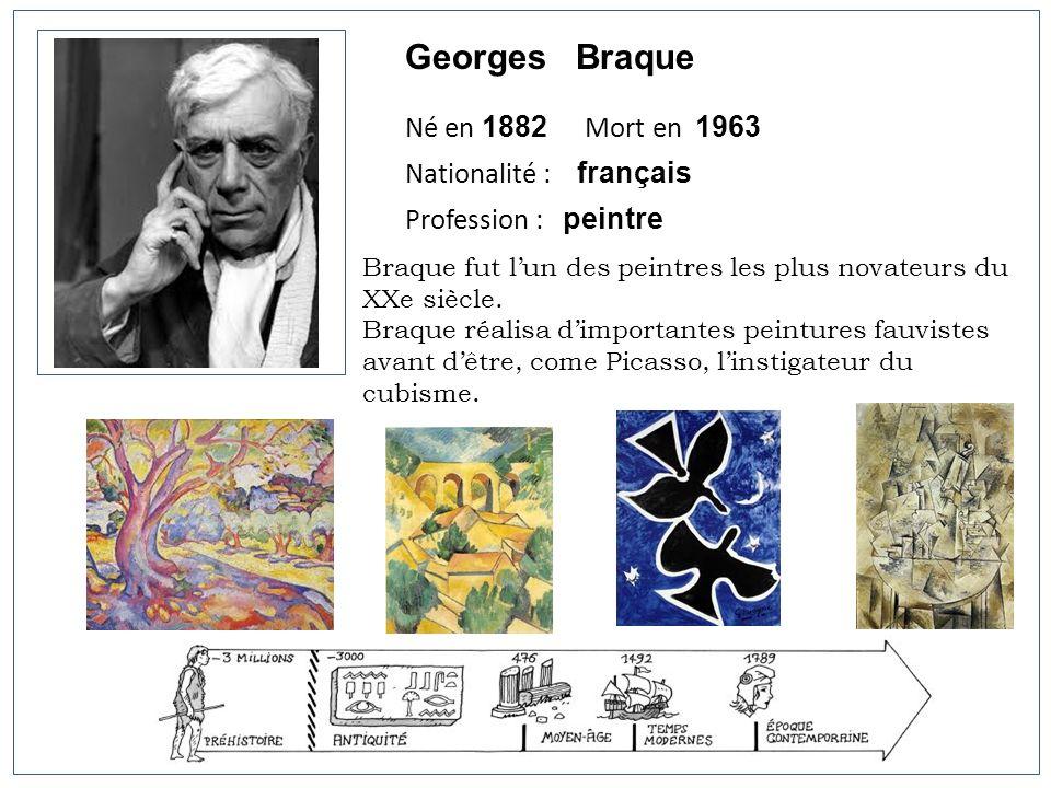 Georges Braque Né en 1882 Mort en 1963 Nationalité : français Profession : peintre Braque fut lun des peintres les plus novateurs du XXe siècle. Braqu