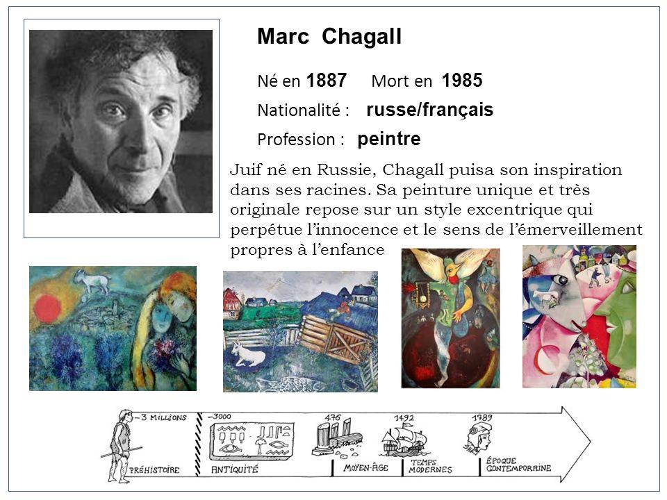 Marc Chagall Né en 1887 Mort en 1985 Nationalité : russe/français Profession : peintre Juif né en Russie, Chagall puisa son inspiration dans ses racin
