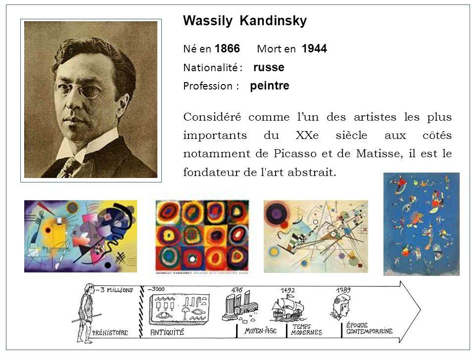 Wassily Kandinsky Né en 1866 Mort en 1944 Nationalité : russe Profession : peintre Considéré comme lun des artistes les plus importants du XXe siècle