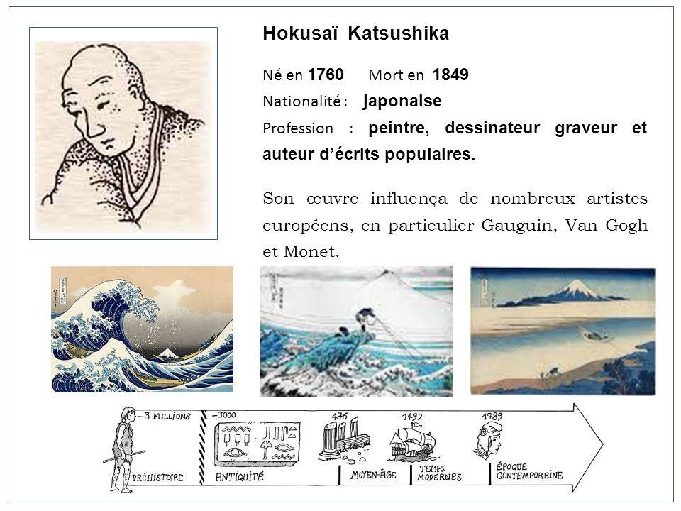 Hokusaï Katsushika Né en 1760 Mort en 1849 Nationalité : japonaise Profession : peintre, dessinateur graveur et auteur décrits populaires. Son œuvre i