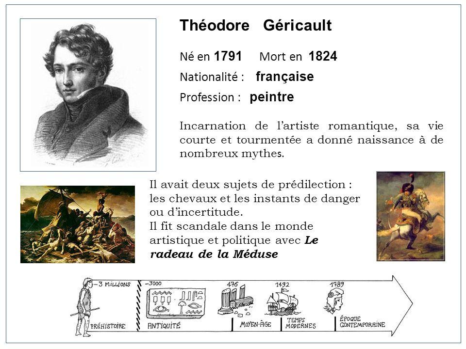 Théodore Géricault Né en 1791 Mort en 1824 Nationalité : française Profession : peintre Incarnation de lartiste romantique, sa vie courte et tourmenté